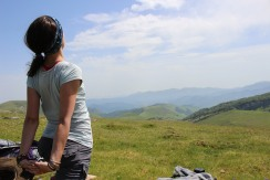 Amy Stretches in the Pyrenees